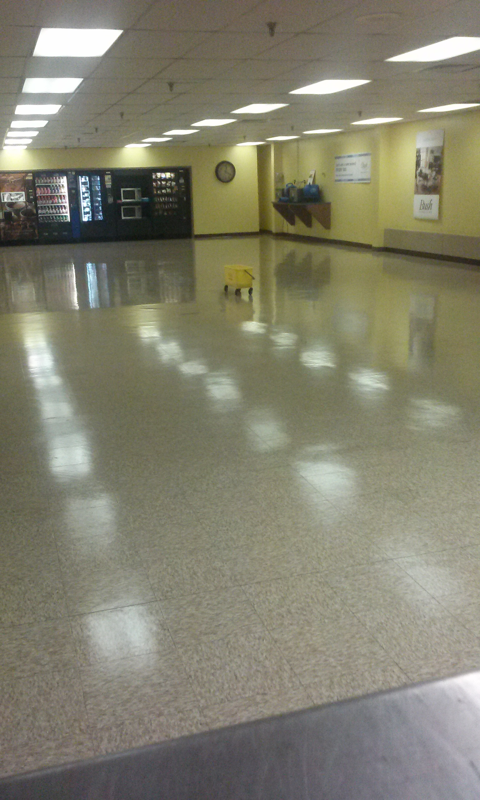 Stripping and waxing of vinyl composition tile